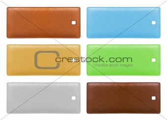 Blank leather price tags isolated