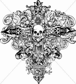 Cross Skull Illustration