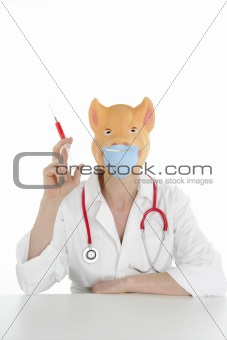 Doctor with pig mask and red syringe
