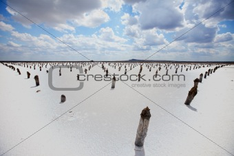 saline Baskunchak, sky and clouds