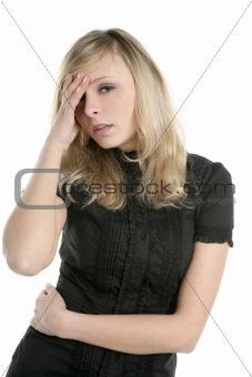 beautiful businesswoman in troubles