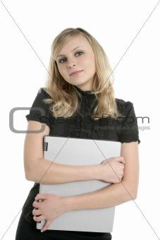 blonde businesswoman holding laptop computer