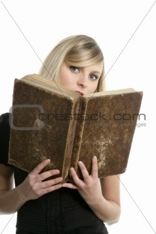 beautiful blonde student girl with old book