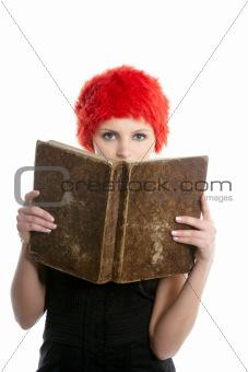 Beautiful woman, orange wig reading old book