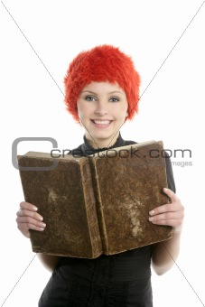 Beautiful woman, orange wig reading old book