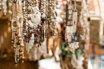 Close up of wooden handmade jewelry