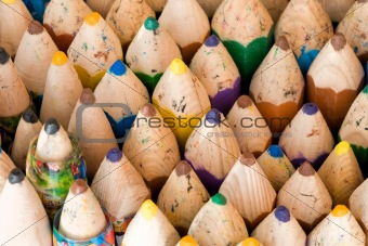 Close up of wooden handmade crayons