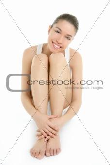 Clean young sit woman studio lifestyle portrait