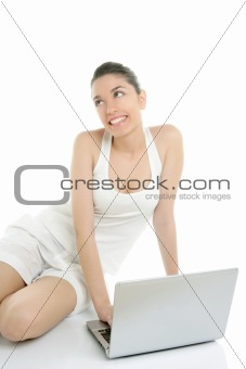 Beautiful woman on floor with laptop computer