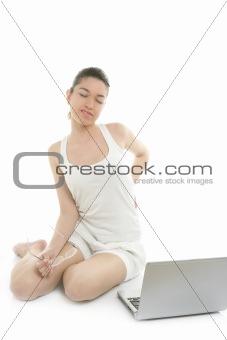 Beautiful woman working laptop, back ache