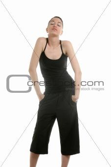Black dressed fashion woman posing on studio