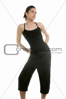 Black dressed fashion woman posing on studio