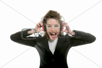 Businesswoman with noise safety headphones