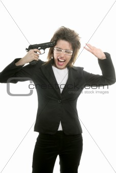 Businesswoman with messy hair and handgun