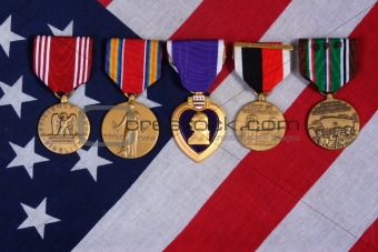 American War Medals of a flag background