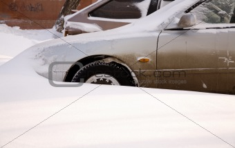 car after snowfall