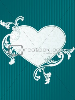 Classic heart-shaped French retro banner in green