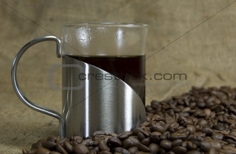 Fresh coffee with beans