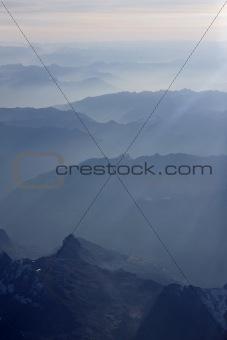 Europe, Italy, italian alps, aerial view