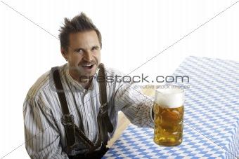 Bavarian Man with Oktoberfest Beer Stein