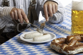 Bavarian Man having Oktoberfest meal