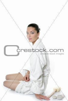 Beautiful bathrobe white natural woman