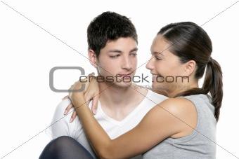 Beautiful young fresh modern couple hug on white