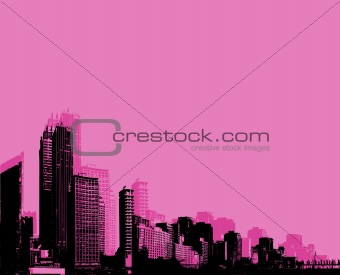 City with pink background. vector