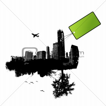 City with green tag. Vector
