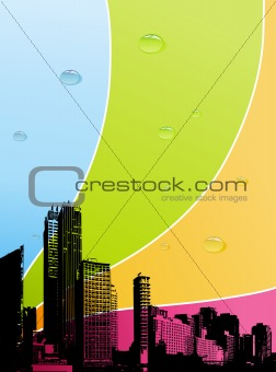 City with color background. vector