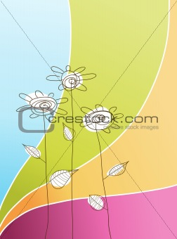 Illustration with simple flowers. Vector art