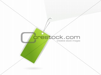 Green tag. Vector art