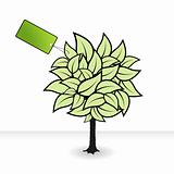 Tree with green tag. Vector art