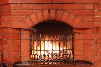 Fireplace with iron lattice