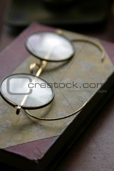 Antique Glasses and Book