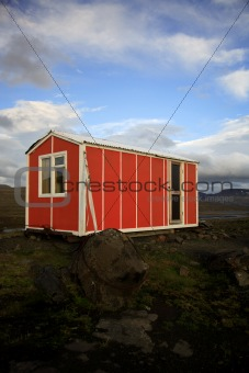 Orange emergency hut