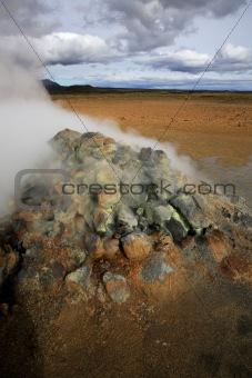 Steaming fumaroles