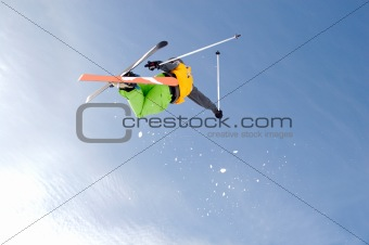 Freestye skier in the sky