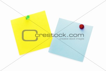 Post-It Notes with Push Pins (isolated on white)