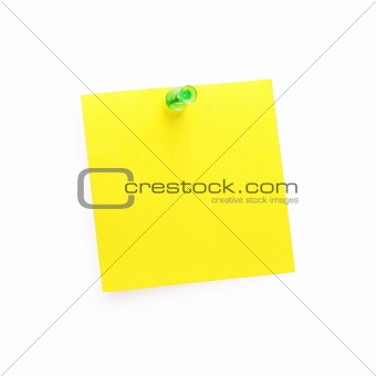 Post-It Note with Push Pin (isolated on white)