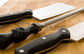 Kitchen Knives on cutting board
