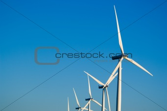 Modern wind turbines or mills providing energy