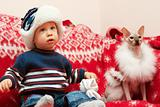 boy with cat Santa