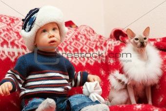 boy with cat Santa