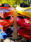 Colorful Boats on a Trailer.