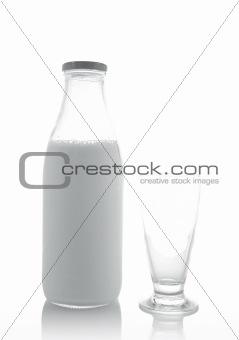 Glass and bottle of fresh milk