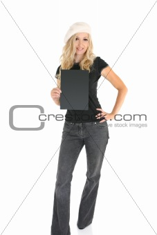 Casual woman with Sign