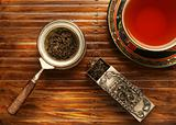 Tea breakfast over bamboo background