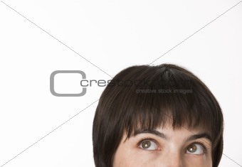 Top of a brunette woman's head