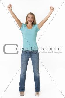 Beautiful young woman cheering